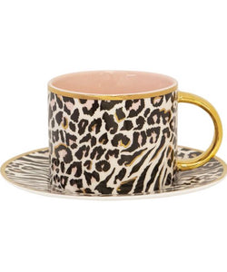 Cristina Re Tea Cup & Saucer  Safari Leopard