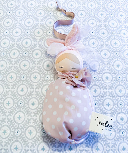 Valentina The Swan- Medium Blush Polka Dot Floral Bunny Mobile Doll