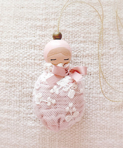 Valentina The Swan- Small White Lace & Blush Pink Doll Mobile