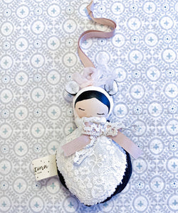 Valentina The Swan- Medium Black & White Lace Panda Mobile Doll