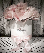 Load image into Gallery viewer, Pastel Blooms Silk Peony White Bouquet Box- Pink Peonies