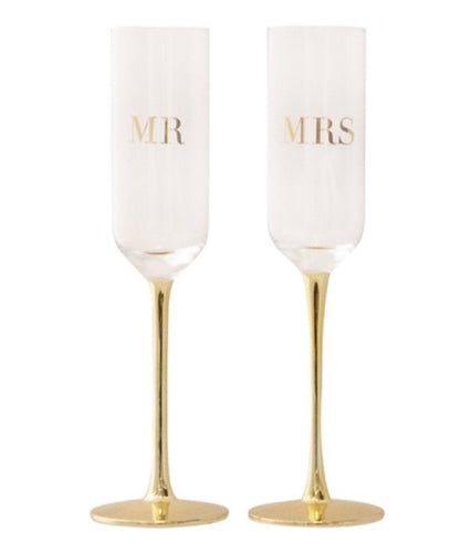 Cristina Re Crystal Champagne Flute- Mr & Mrs- set of 2