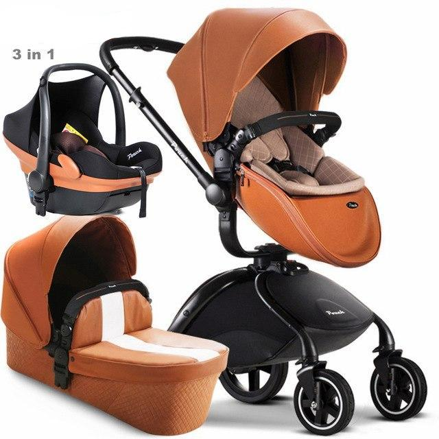 3 In 1 Luxury Baby Stroller With Sleeping Basket Safety Car Seat