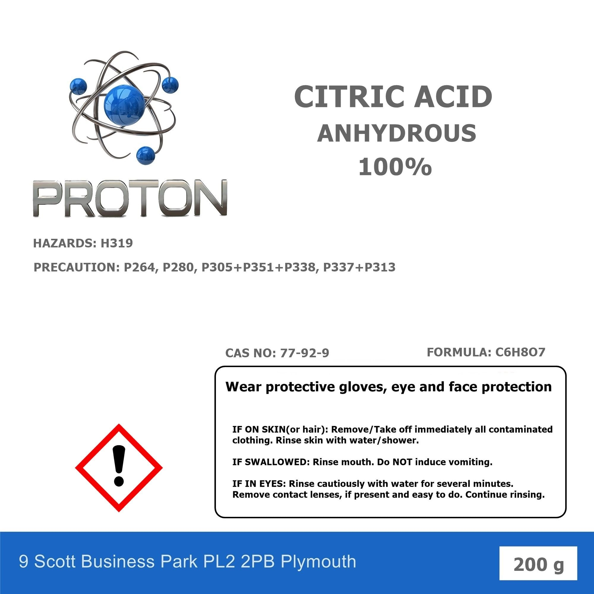 Citric Acid Anhydrous 100%