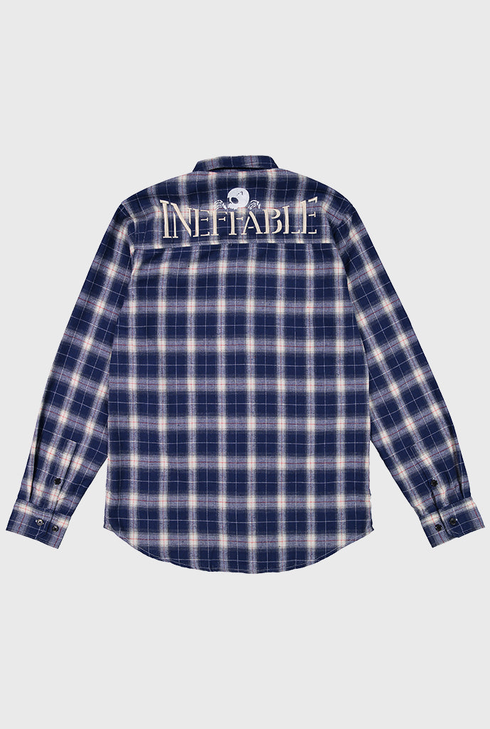 Embroidered Skull Logo Flannel - Navy