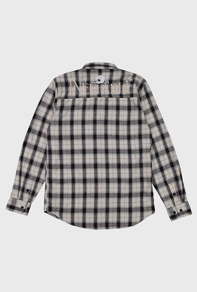 Embroidered Skull Logo Flannel - Cream