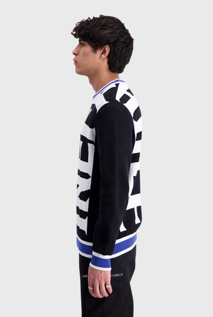 Knit Vertical Logo Sweater - Black