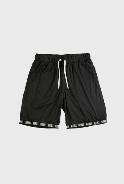 Logo Ribbed Mesh Short - Black