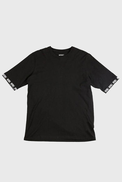 Logo Ribbed Tee - Black