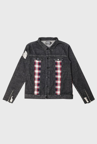 Flannel Denim Jacket - Black
