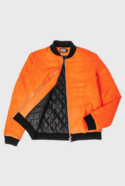 Faux Suede Bomber - Orange