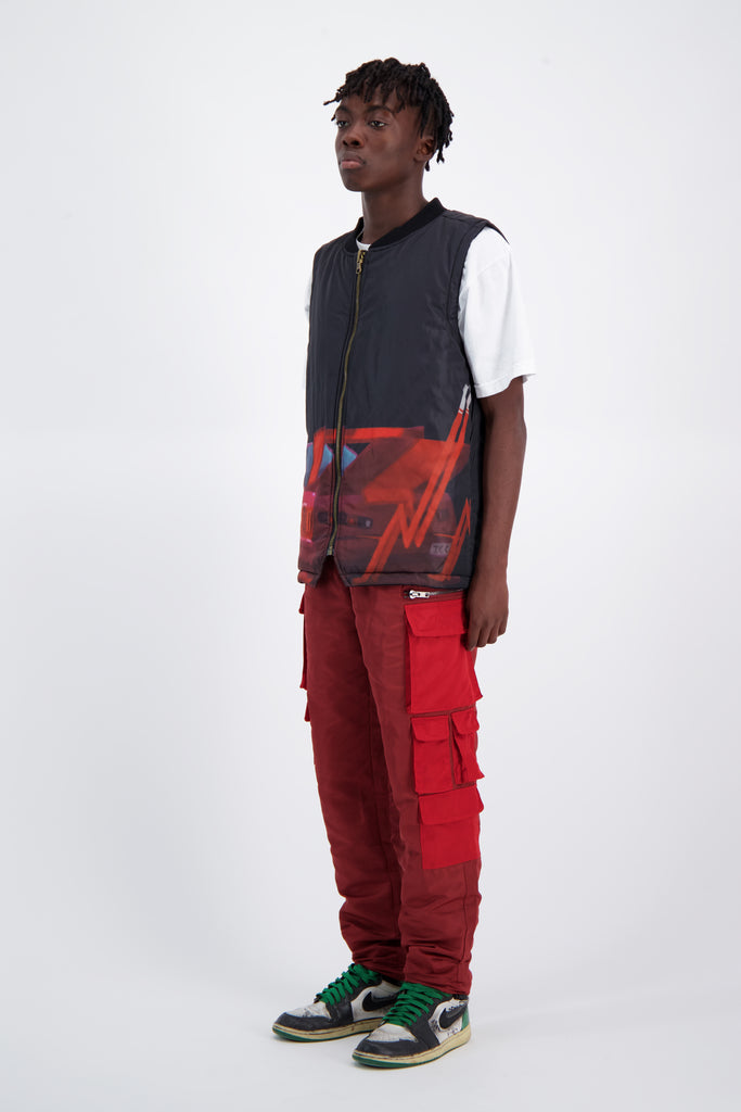 Color Blocked Nylon Bungee Cargo Pant - Red