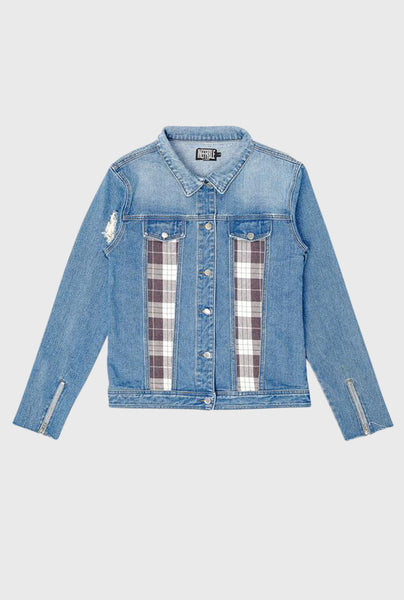 Flannel Denim Jacket - Blue