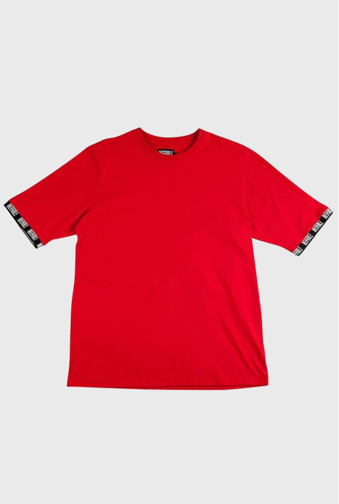 Logo Ribbed Tee - Red