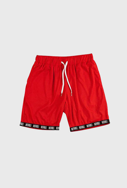 Logo Ribbed Mesh Short - Red