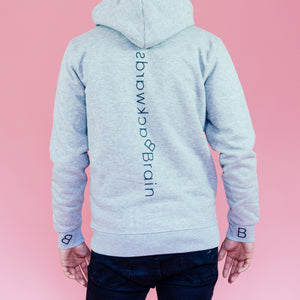 Backwards Brain signature grey hoodie.