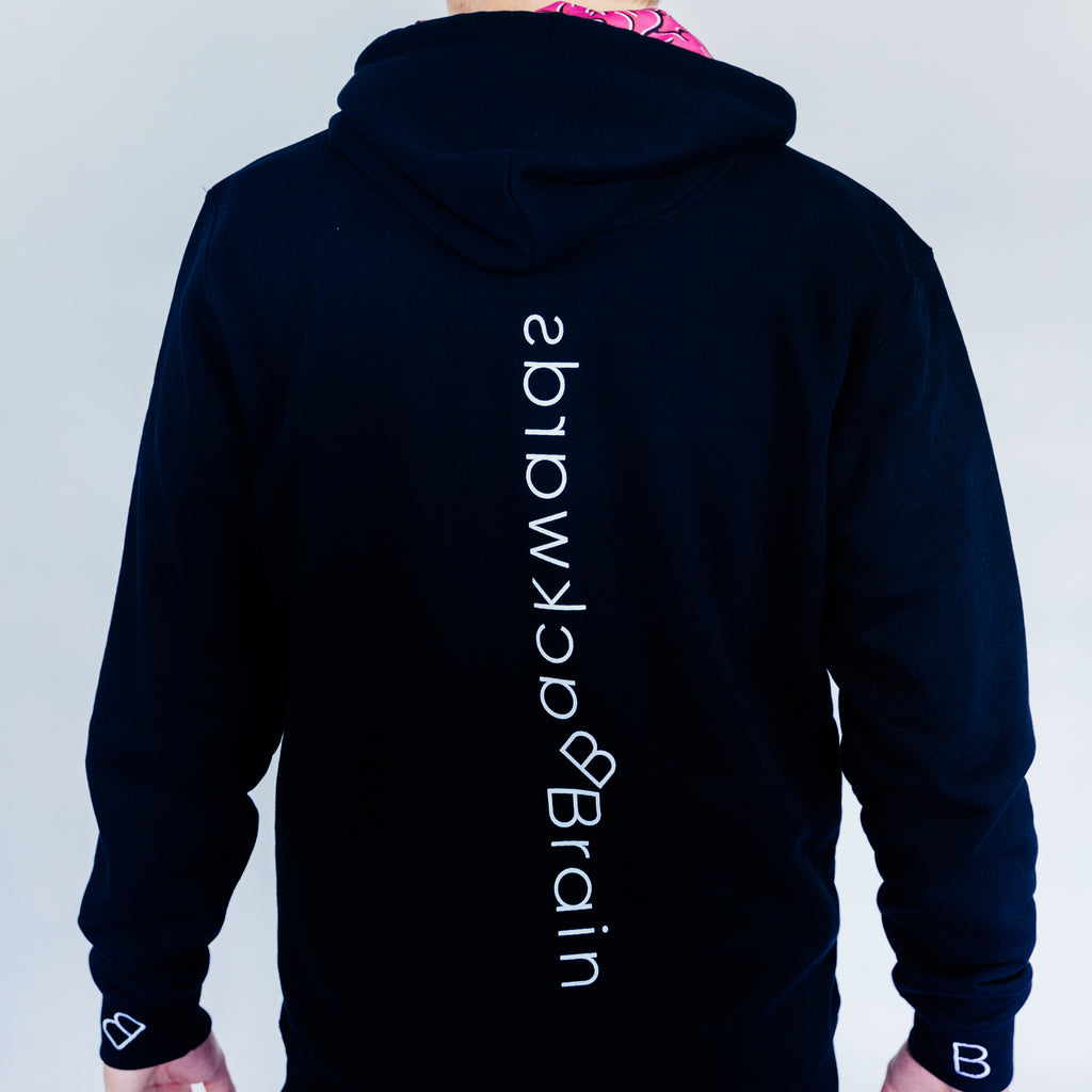 Backwards Brain signature black hoodie.