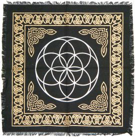 Altar Cloth - 36 X 36 Seed of Life - Black and Gold