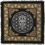 Altar Cloth - 36 X 36 Flower of Life - Black and Gold