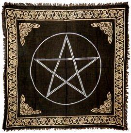 Altar Cloth - 36 X 36 Pentagram - Black and Gold