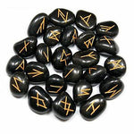 Black Obsidian Rune Set - Set of 24 Runes plus one blank