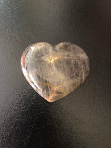 Black Moonstone Heart Palmstone
