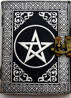 Silver and Black Pentagram  Leather Embossed Journal