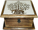 Wood Box: Elephant Tree of Life 7x7 inch