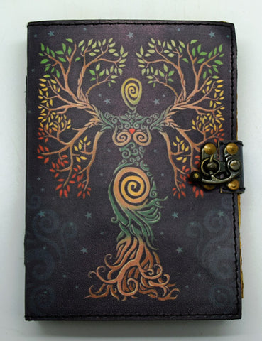 Color Soft Leather Goddess Embossed Journal - Aged Parchment