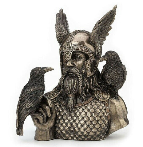 Norse God Odin With Ravens Bust