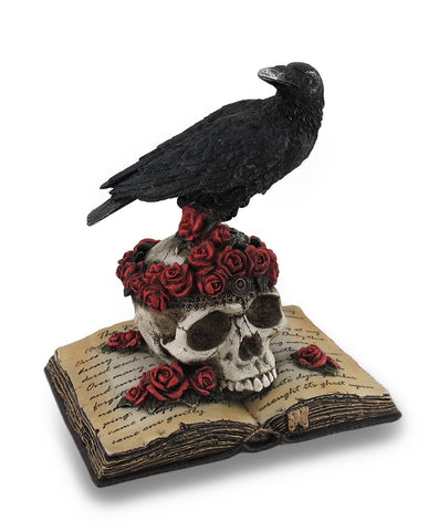 Crow Perching On Skull With Roses On An Open Book