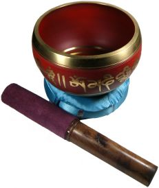 Red Tibetan Singing Bowl - 4 inches wide
