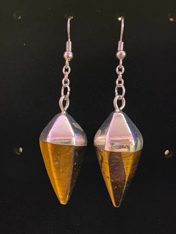 TIgerseye Point Earrings