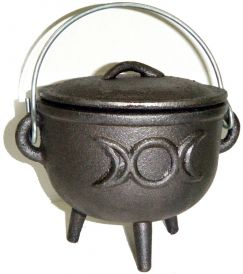 2.5 inch Cast Iron Cauldron with Lid, Moon