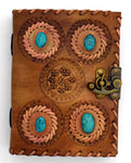 4 Turquoise Leather Embossed Journal