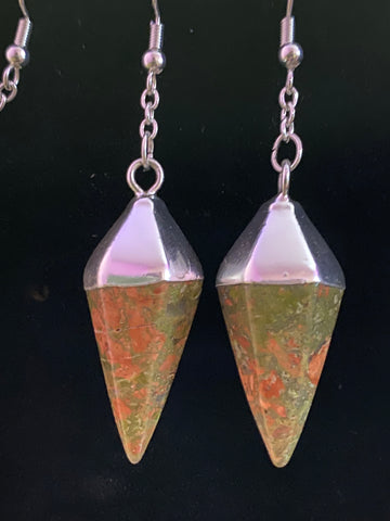 Unakite Point Earrings