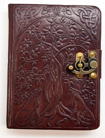 Tree of Life with Wolves Leather Embossed Journal