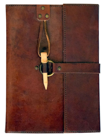 Leather Journal with Wooden Peg Enclosure