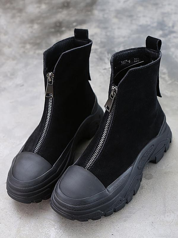 Winter Fashion Zipper Chunky Martin Boots