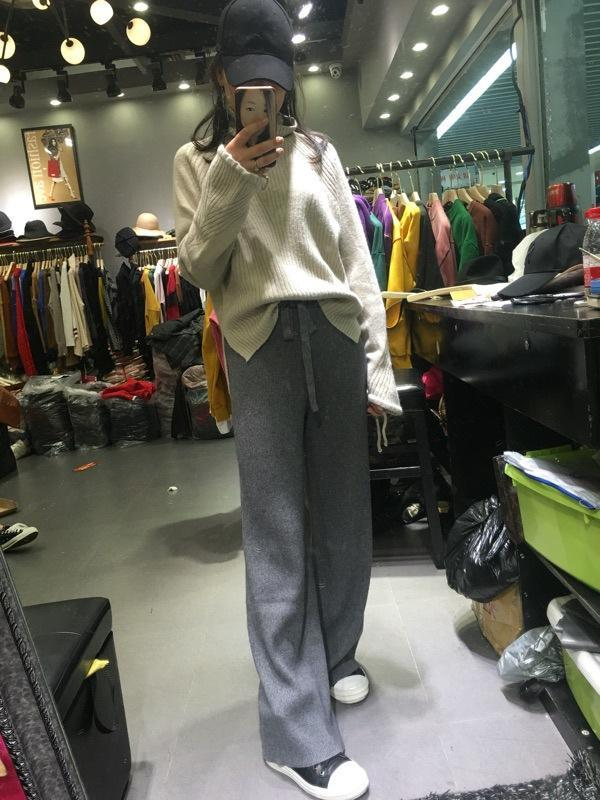 Pure Cashmere Elastic Waist Casual Straight Trousers