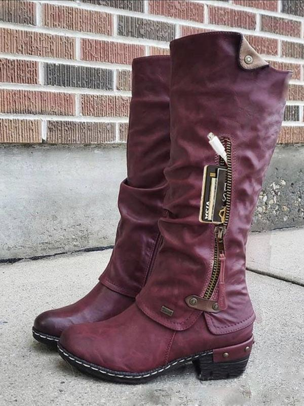 Vintage Mid-tube Side Zipper Chunky Heel Pocket Boots