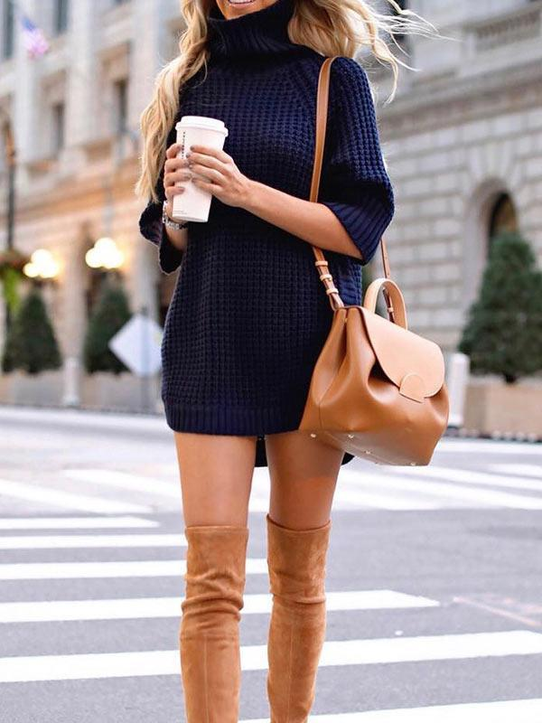 High collar Casual Short Sleeve Sweater