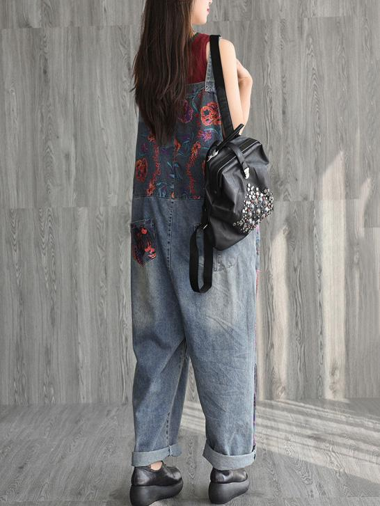Vintage Loose Applique Casual Jeans Jumpsuits
