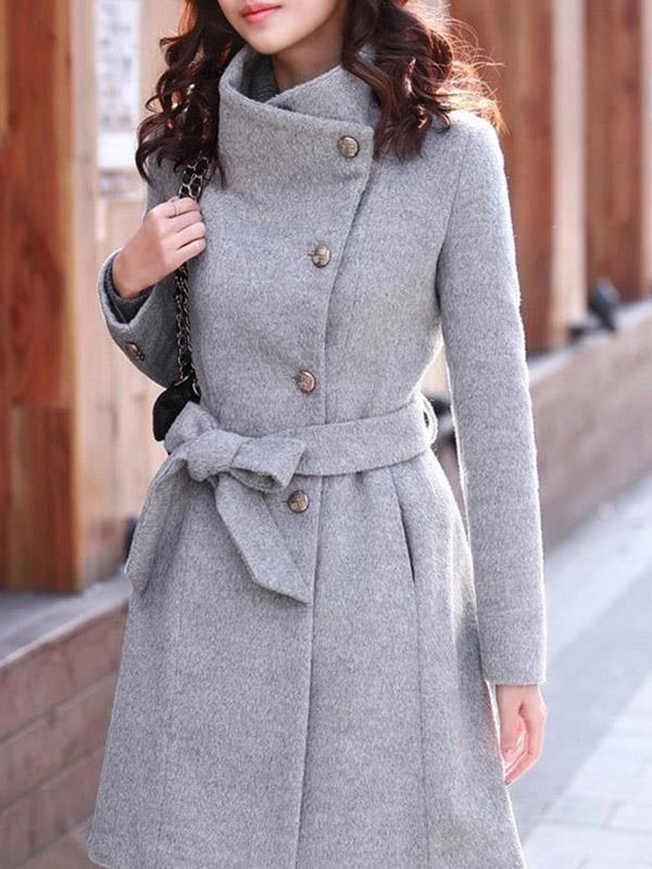 Outwear Long with Long Sleeves Woolen Coat Winter
