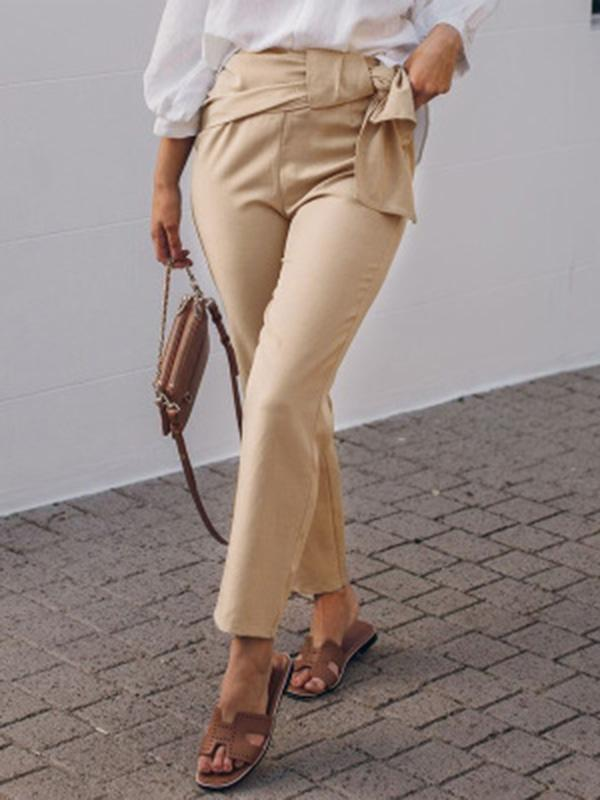 Solid Color Wide Leg Casual Pants