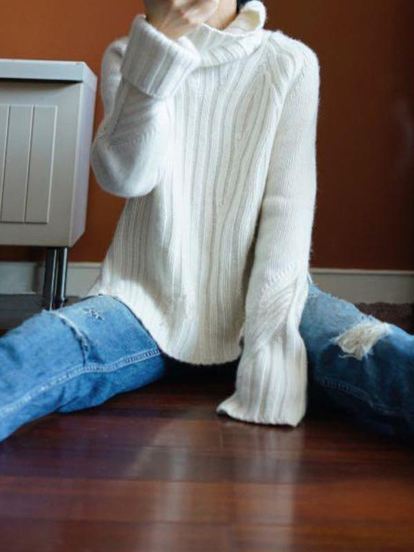 Pure Cashmere Thick Loose Pullover Knit Sweater