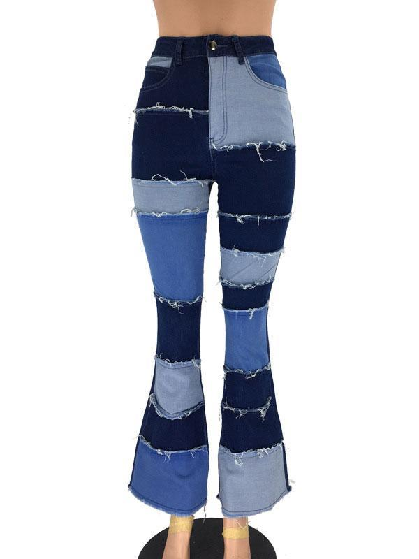 Fashion Patchwork Flared Women's Denim Trousers