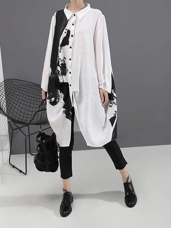 Mid-length Print Long Sleeves Lapel Women's Shirt Dress