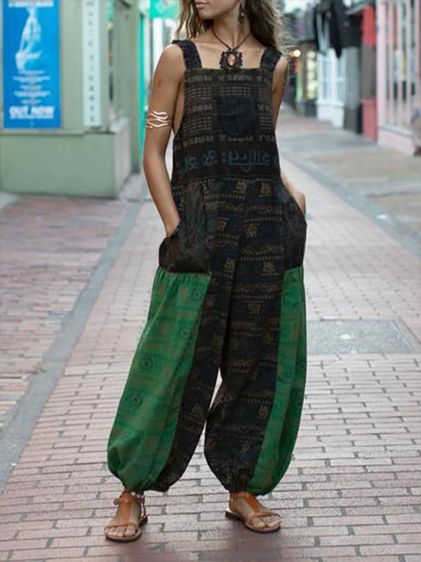 High Waist Printed Casual Loose Overalls Jumpsuits