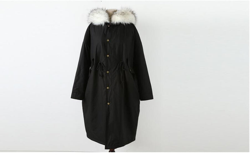 Loose Plus Size Thickening Fur Collar Winter Cotton Coat